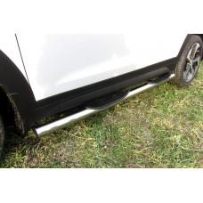 Защита порогов Hyundai Tucson 4WD (2015) d76 с проступями
