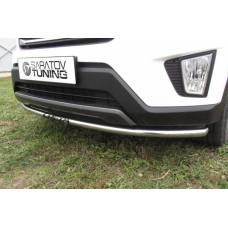 Защита переднего бампера Hyundai CRETA d42 радиусная с надписью