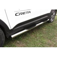 Защита порогов Hyundai CRETA d76 с проступями
