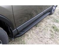 Пороги алюминиевые черные Toyota RAV-4 (2013-2019)