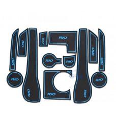 Коврики в карманы Kia-Rio-3 синие 1,6