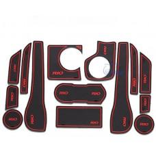 Коврики в карманы Kia-Rio-3 красные 1,4