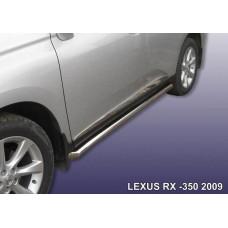 Защита порогов LEXUS RX-350 (2009) d76 труба с гибами