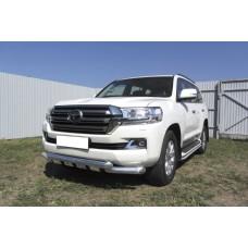 Защита переднего бампера Toyota LAND CRUISER 200 (2015) d76+d76 двойная с профильной защитой картера